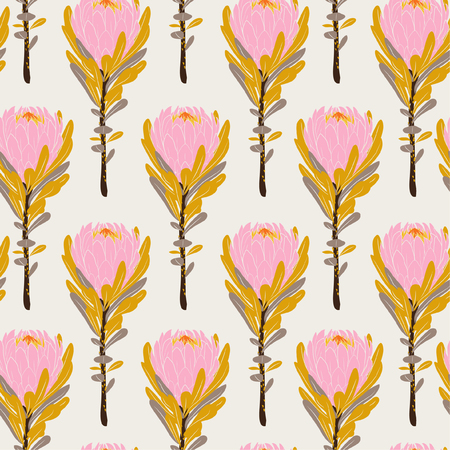 Illustration pour Pastel Vintage pink protea flowers in seamless pattern vector regular repeat for fashion ,fabric and all prints on light beige background color - image libre de droit