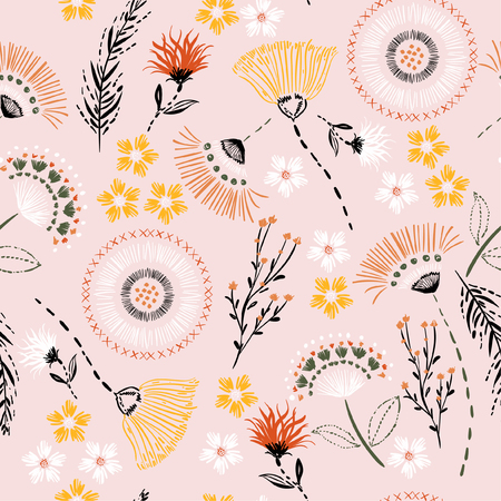 Ilustración de Sweet pastel  Seamless pattern Colorful hand drawing sketch garden flowers and line ,dash leaves in doodle style vector suits for fashion,fabric and all prints on light pink  background color - Imagen libre de derechos