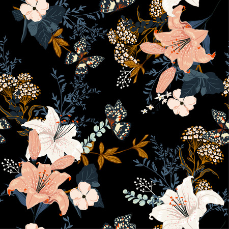 Ilustración de Dark romantic garden flowers in the night ,Full of  blooming lilly and many kind of flowers seamless pattern design for fashion,fabric ,wallpaper,and all prints on black background color. - Imagen libre de derechos