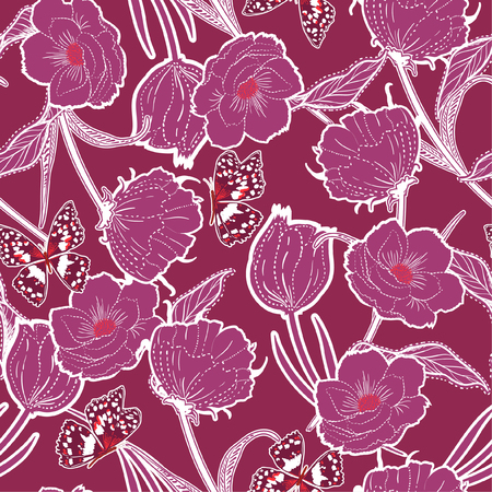 Illustration pour Vintage Outline hand drawn graden in the dash botanic dark blue flowers with butterflies ,design for fashion,fabric,wallpaper and all prints on dark pink background color - image libre de droit