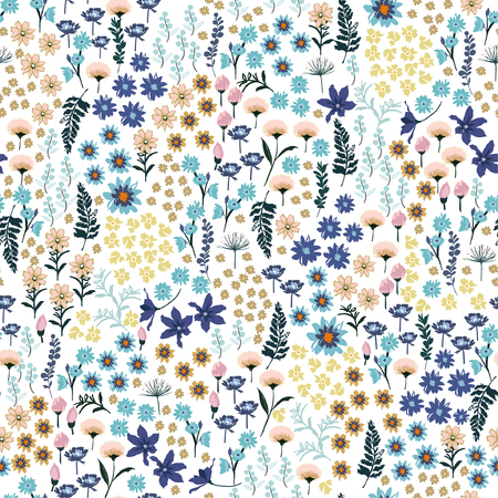 Ilustración de Sweet pastel small liberty many kind of Wild flowers pattern. Hand drawn meadow Floral Seamless vector design for fashion,fabric wallpaper and all prints on white background color - Imagen libre de derechos