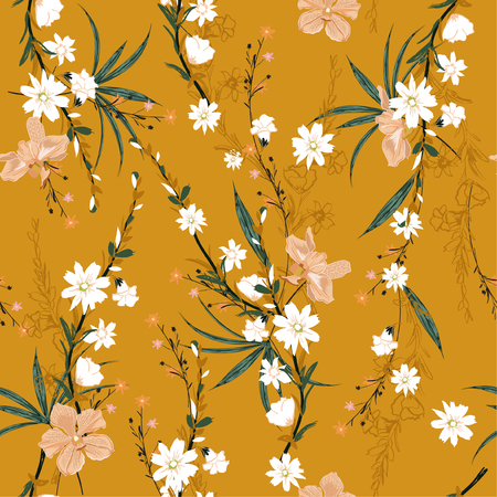 Ilustración de Trendy seamless pattern of garden many kind of botanical plants,flowers,orchid ,floral design for fashion,fabric,wallpaper,web and all prints on retro yellow  background color - Imagen libre de derechos