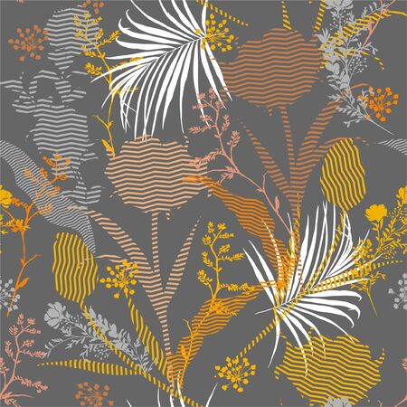 Illustration for Seamless silhouette of botanical plants and floral fill in with zigzag striped Pattern on colorful garden mood  Print in vector Design for faashion,fabric,web,wallpaper and all prints on stylish grey background - Royalty Free Image