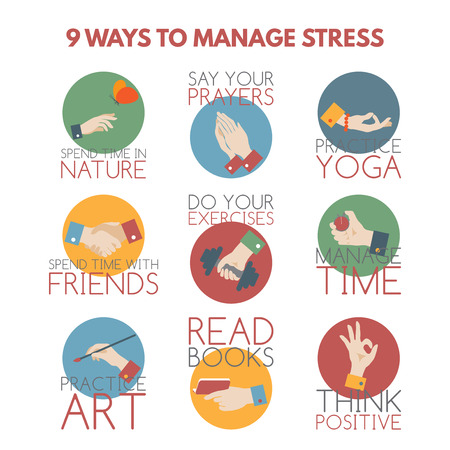 Illustrazione per Modern flat style infographic on stress management. Elements designed as hand gestures. - Immagini Royalty Free