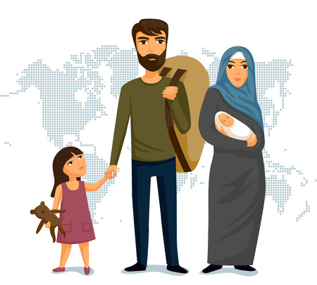 Illustrazione per Refugees infographic. Social assistance for refugees. Arab Family. Immigration security. Design template. Refugees immigration concept. Vector illustration - Immagini Royalty Free