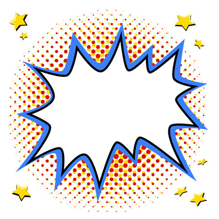 Ilustración de Pop art styled speech bubble template for your design. Comics pop-art style empty bang shape on a multi color halftone. Vector illustration. Ideal for web banners - Imagen libre de derechos