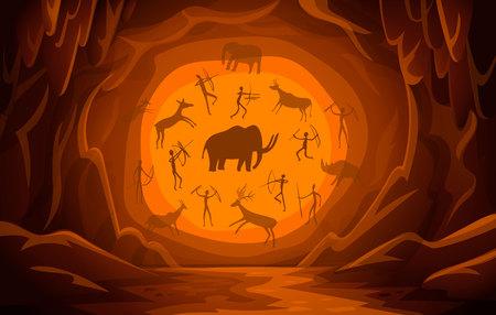 Ilustración de Prehistoric Cave with cave drawings. Cartoon mountain scene background Primitive cave paintings. ancient petroglyphs. Vector illustration. - Imagen libre de derechos