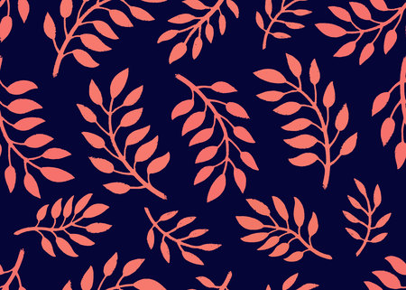 Illustration pour Seamless Floral Pattern. Bright pattern with branches in coral and navy colors. Floral seamless background for textile, fabric, covers, manufacturing, scrapbooking, wallpapers, print, gift wrapping Vector illustration - image libre de droit