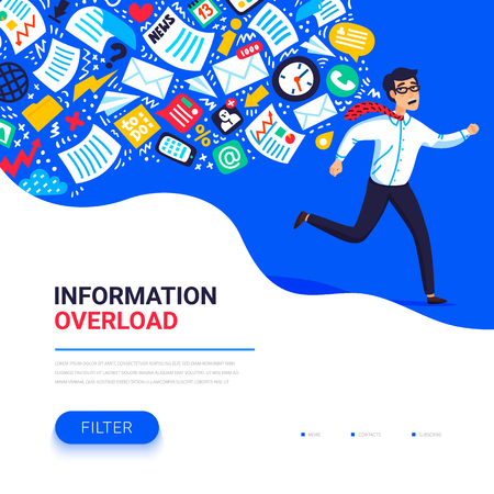 Ilustración de Information overload concept. Young man running away from information stream pursuing him. Concept of person overwhelmed by information. Colorful vector illustration in flat style - Imagen libre de derechos