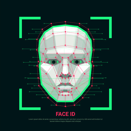 Ilustración de Face ID concept. Biometric identification or Facial recognition system. Human face consisting of polygons, points and lines. Vector illustration - Imagen libre de derechos