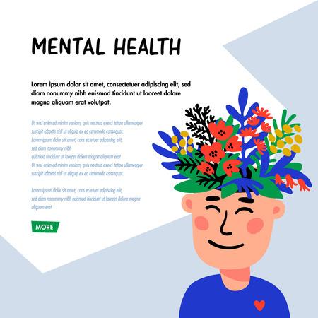 Illustration pour Psychology. Mental health concept. Man character with flower head. Mental health concept, good mood, harmony . Doodle style flat vector illustration - image libre de droit