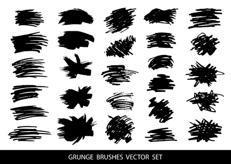 Ilustración de Set of black paint, ink brush strokes, brushes, lines. Dirty artistic design elements, boxes, frames for text. Vector illustration. - Imagen libre de derechos