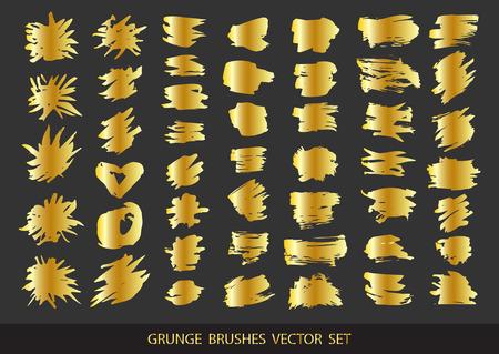 Ilustración de Set of gold paint, ink brush strokes, brushes, lines. Dirty artistic design elements, boxes, frames for text. Vector illustration. - Imagen libre de derechos