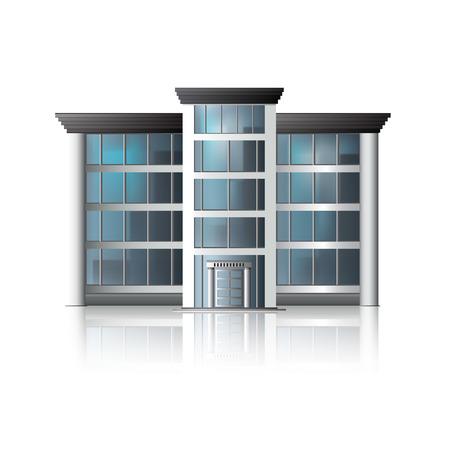 Ilustración de office building with reflection and input. - Imagen libre de derechos