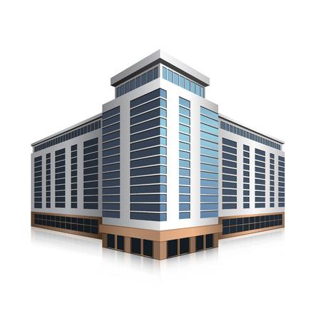 Ilustración de separately standing office building, business center in perspective - Imagen libre de derechos