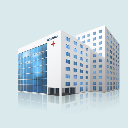 Illustration pour city hospital building with reflection on a blue background - image libre de droit