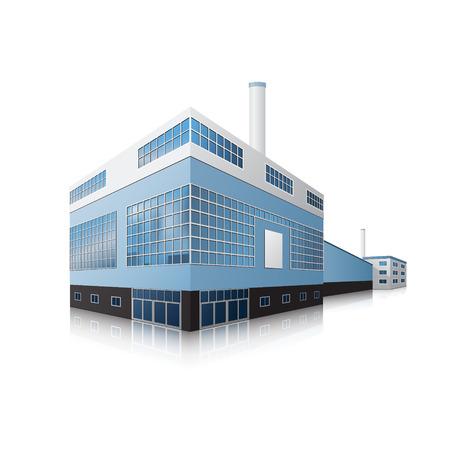 Ilustración de factory building with offices, production facilities and reflection - Imagen libre de derechos