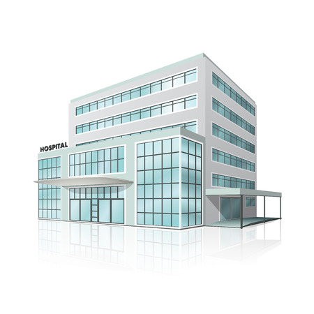 Illustration pour city hospital building in perspective on white background - image libre de droit