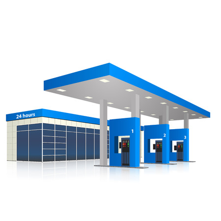 Illustration pour filling station with a small shop and reflection in perspective - image libre de droit