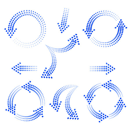 Ilustración de set of blue arrows from circles on a white background - Imagen libre de derechos