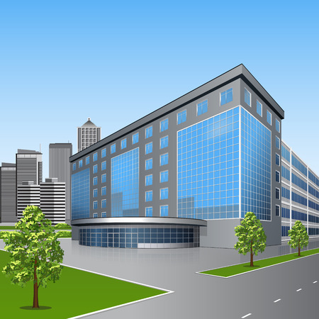 Illustration pour office building with trees and reflection on a background of street - image libre de droit