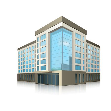 Illustration pour office building with entrance and reflection on white background - image libre de droit