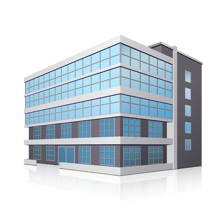Illustration pour office building with entrance and reflection on white background - image libre de droit