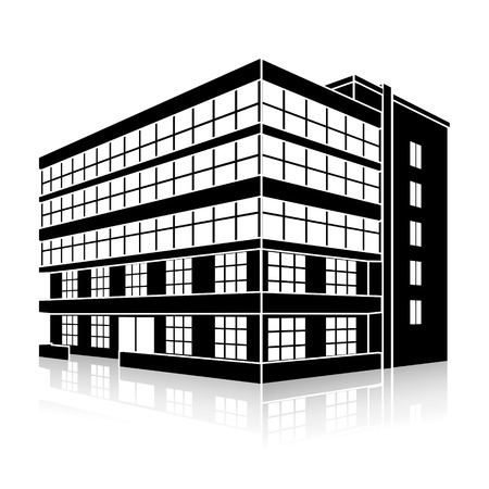 Illustration pour silhouette office building with an entrance and reflection on a white background - image libre de droit