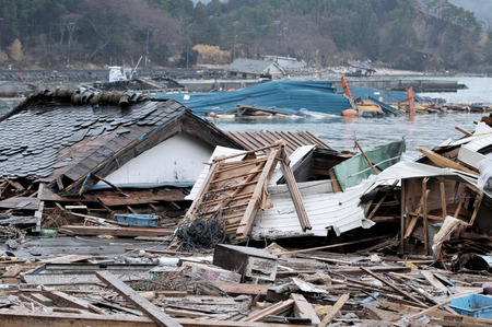 Photo pour The outbreak of the unprecedented Great East Japan Earthquake and tsunami - image libre de droit