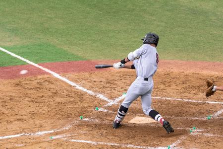 Foto per Scenery of the high school baseball game - Immagine Royalty Free