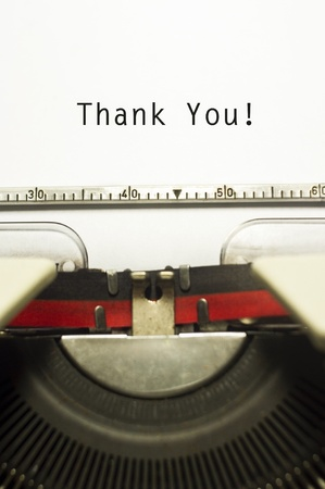 Photo for thank you message on typewriter paper, for appreciation concepts. - Royalty Free Image