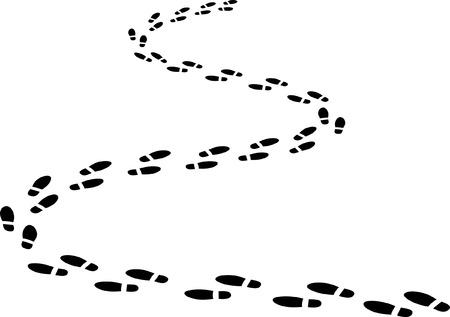 Ilustración de footprints on winding road  - Imagen libre de derechos