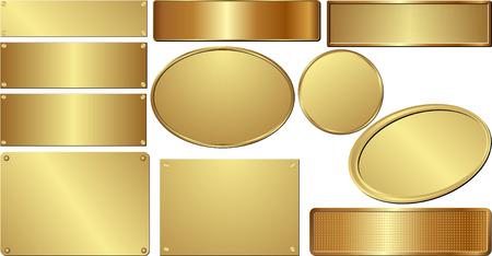 Illustration pour set of isolated golden plaques - image libre de droit