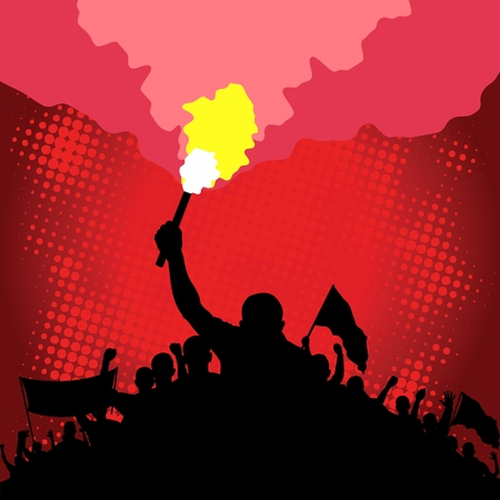 Illustration for marching crowd with flare and flags - Royalty Free Image