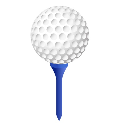 golf ball on blue peg with white background