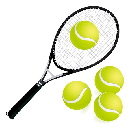 tennis racket and balls with white background