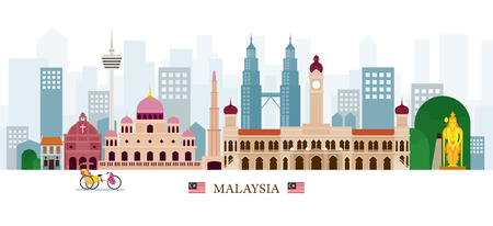 Illustration for Malaysia Landmarks Skyline, Cityscape, Travel and Tourist Attraction - Royalty Free Image