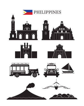 Illustration for Philippines Landmarks Architecture Building Object Set, Design Elements, Black and White, Silhouette - Royalty Free Image