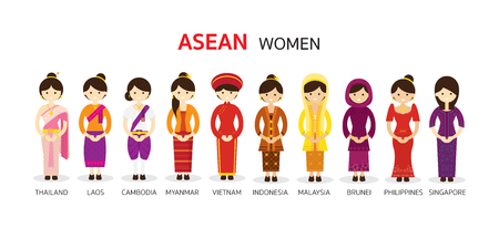 Illustration for Southeast Asia Women in Traditional Clothing, AEC (ASEAN Economic Community) People - Royalty Free Image
