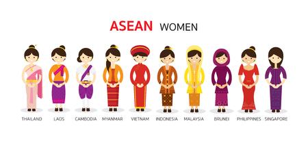 Illustration pour Southeast Asia Women in Traditional Clothing, AEC (ASEAN Economic Community) People - image libre de droit