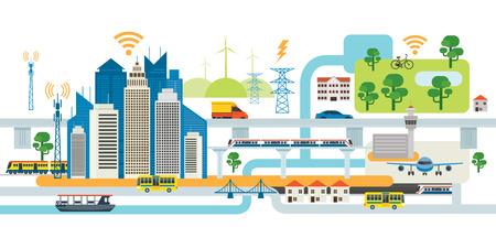 Illustration pour Smart City Infrastructure , Transportation, Connected, Energy and Power Concept - image libre de droit