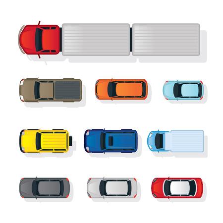 Illustration pour Cars and truck Various Type Top or Above View Set, Colorful, Automobile and Transportation - image libre de droit