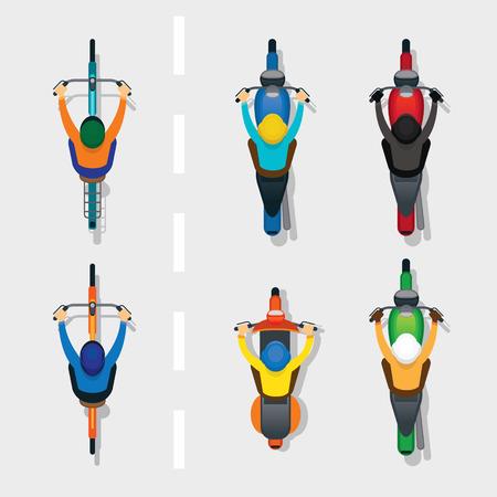 Ilustración de People on Motorcycles and Bicycles Top or Above View, on the Road, Automobile and Transportation - Imagen libre de derechos