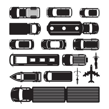 Ilustración de Vehicles, Cars and Transportation in Top or Above View, Silhouette, Mode of Transport, Public and Mass - Imagen libre de derechos