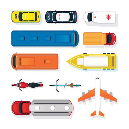 Ilustración de Vehicles, Cars and Transportation in Top or Above View, Mode of Transport, Public and Mass - Imagen libre de derechos