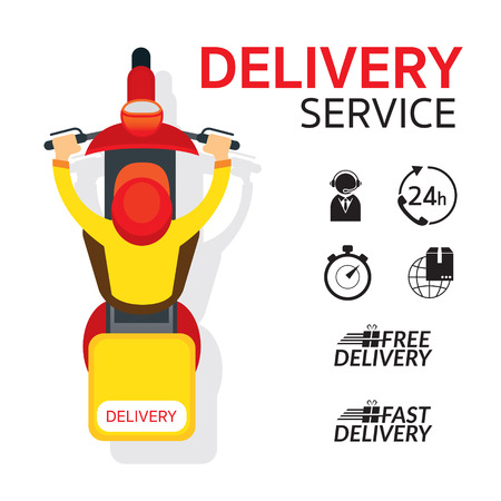 Illustration pour Delivery Boy Ride Scooter Motorcycle , Top or Above View with Service Icons - image libre de droit