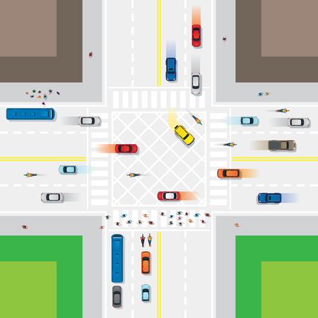 Illustration pour Road and Junction with People and Vehicles, Traffic, Top or Above View - image libre de droit