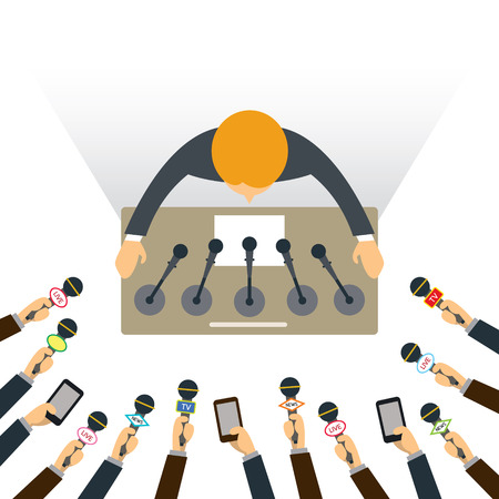 Illustration pour Man on Podium with Hands Holding Microphone to Interview, Top or Above View, Press Conference - image libre de droit