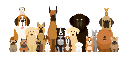 Illustration pour Group of Dog Breeds Illustration, Various Size, Front View, Pet - image libre de droit