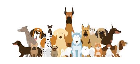 Illustration pour Group of Dog Breeds Illustration, Various Size, Front and Side View, Pet - image libre de droit